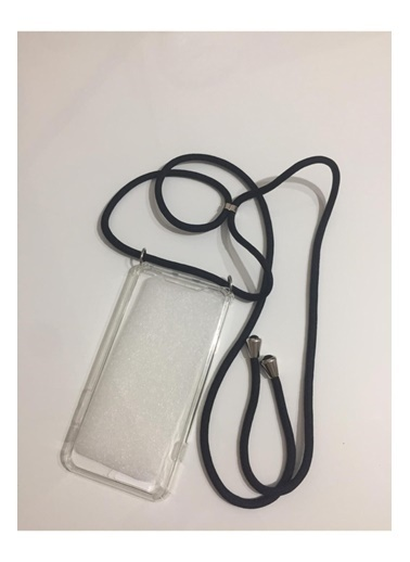 marstec Marstec iPhone X Askılıklı Silikon Telefon Kılıfı (Siyah Halat) Renksiz